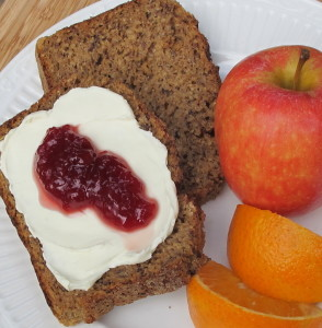 Currant Oat Bread with cream cheese and jam.